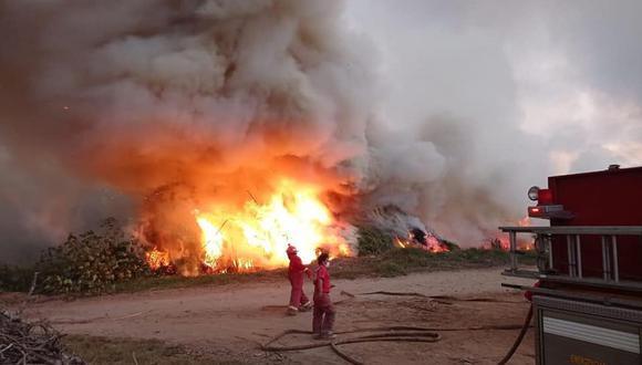 El fuego se inició alrededor de las 3:20 pm y la magnitud generó que el humo se disperse por las calles. (Foto: Municipalidad Distrital de Nepeña)