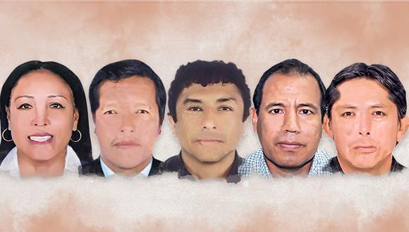 Elizabeth Medina (Huánuco) | Germán Tacuri (Ayacucho) | Guillermo Bermejo (Lima) | Nivardo Tello (Lima) | Paul Gutiérrez (Apurímac) (Composición: El Comercio)