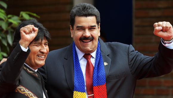 Evo Morales y Nicolás Maduro en una imagen del 15 de junio del 2014 en Santa Cruz, Bolivia. (AFP).