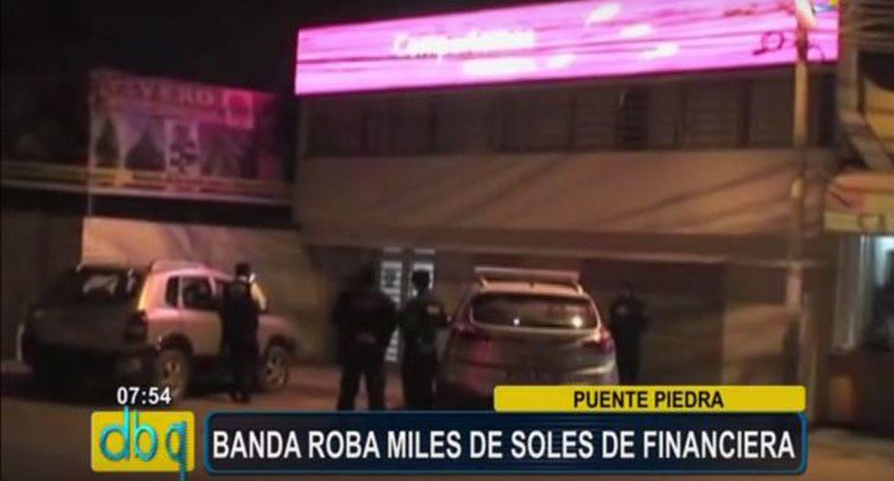 Puente Piedra: Delincuentes encapuchados asaltaron financiera