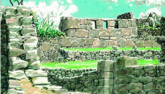 La ciudadela de Machu Picchu le inspiraron al artista una serie de acuarelas publicadas en libro homónimo de 2013. En la imagen, el templo de las tres ventanas, en Cusco. (Dibujo de Ángel Valdez)