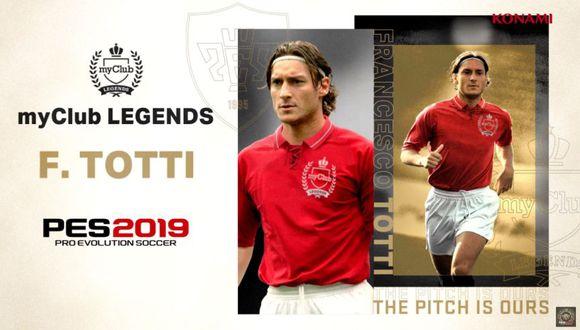 Durante la campaña podrás recibir jugadores leyendas como Frances Totti. (Foto: Konami)