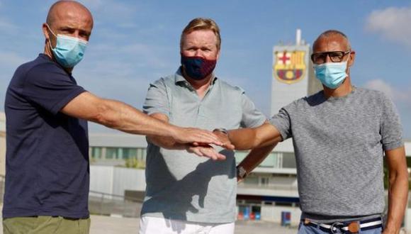Alfred Schreuder, Ronald Koeman y Henrik Larsson, parte del equipo técnico del Barcelona. (Foto: FC Barcelona)