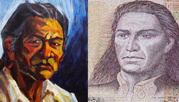 A la izquierda, retrato de Juan Bautista Túpac Amaru creado por el artista Bruno Portuguez, a partir de una investigación histórica. Técnica: acrílico sobre cartón. A la derecha, José Gabriel Condorcanqui, más conocido como Túpac Amaru II, en el descontinuado billete de 500 intis. Imágenes: cortesía Bruno Portuguez/ BCR.