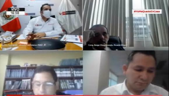 El congresista Ricardo Burga fue captado durmiendo en la sesión virtual de la Comisión de Defensa. (Captura del Congreso TV)
