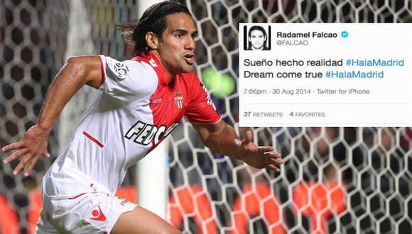 Radamel Falcao tuiteó que se va al Real Madrid y luego lo borró