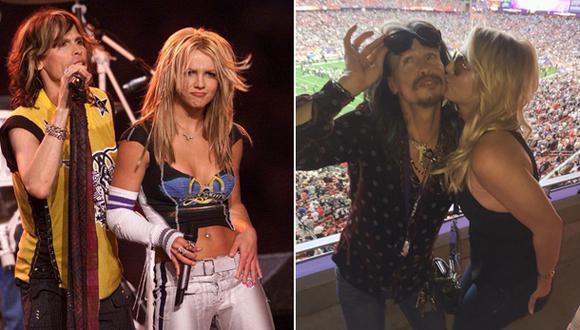 Britney Spears y Steven Tyler se reencontraron en el Super Bowl