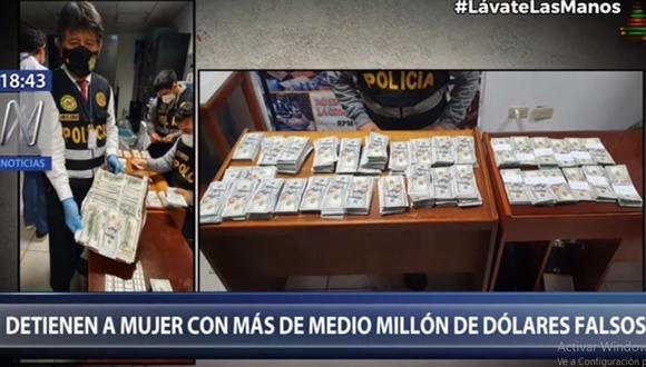 Los dólares falsificados fueron incautados en el aeropuerto Jorge Chávez. (Foto: Canal N)