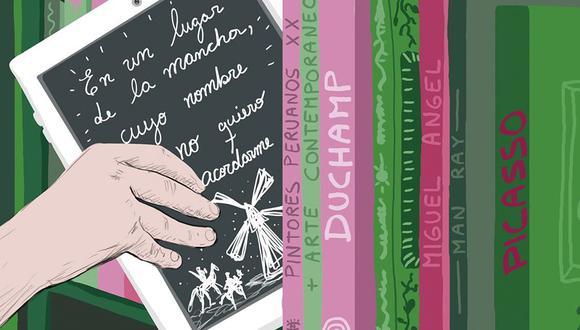 El primer e-book fue lanzado en 1981 y se trató del Diccionario electrónico de Penguin Random House. Sin embargo, el primer e-book exitoso fue la novela 'Riding the Bullet' de Stephen King, publicada el 14 de marzo del año 2000: vendió medio millón de ejemplares en dos días. (Ilustración: Giovanni Tazza)