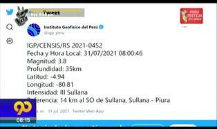 Piura: Nueva replica de magnitud 3.8 grados