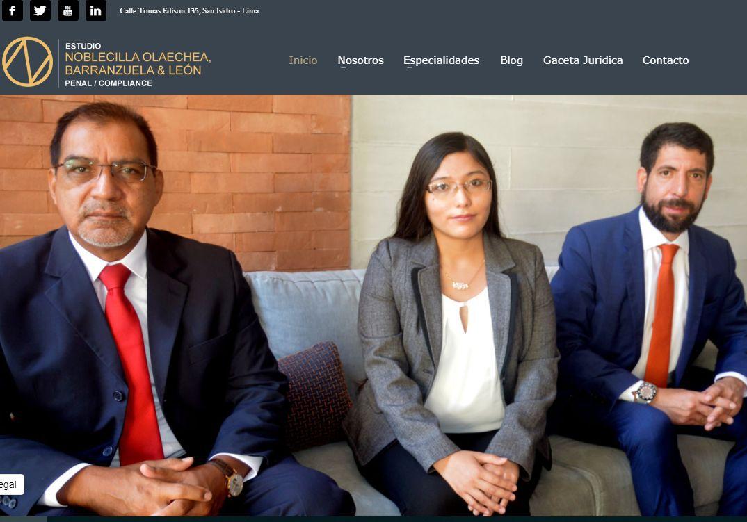 Barranzuela en la página web del estudio de abogados que fundó junto a Raúl Noblecilla.
