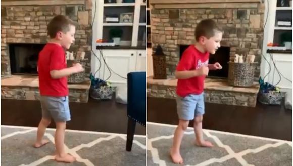 El menor fue grabado por su madre, quien orgullosa de los logros de su hijo decidió compartir el video en sus redes sociales. (Foto: Twitter/Mandy Hanson)