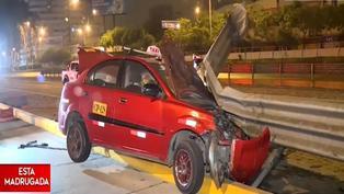 Vía Expresa: Taxista se salva de morir tras chocar su auto con baranda de seguridad