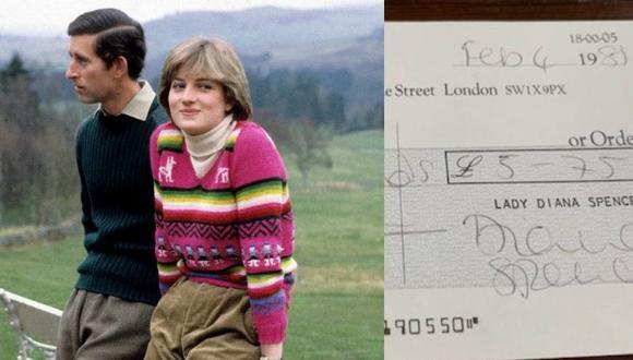 Una jovencísima Diana Spencer posó con una chompa peruana en una sesión junto a su prometido, el Príncipe Carlos de Inglaterra, en mayo de 1981 en los alrededor del castillo de Balmoral. Dos meses después se convertiría en Princesa de Gales (foto: Getty Images). Derecha: el cheque firmado por la propia Diana que guarda registro de la compra de dicha prenda en Inca, tienda peruana ubicada en Londres durante las décadas del 70 y 80.
