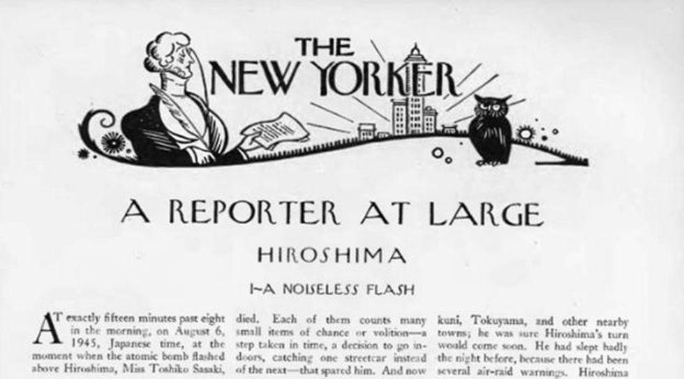 La primera página del artículo Hiroshima en la revista The New Yorker. Imagen: BBC Mundo