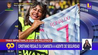 Cristiano Ronaldo regaló su camiseta a una guardia de seguridad que golpeó accidentalmente