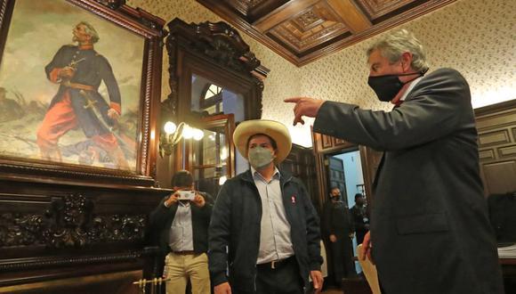 Francisco Sagasti y Pedro Castillo se reunieron el miércoles en las instalaciones de Palacio de Gobierno | Foto: Presidencia Perú