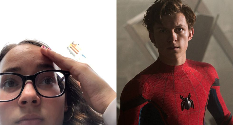 "Tom Holland de ""Spider-Man: Far From Home"" ayudó a una fan en apuros. Fotos: Twitter/ Sony Pictures."