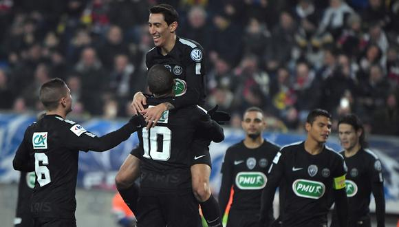 PSG celestial: goleó 4-1 al Sochaux con hat-trick de Di María. (Foto: AFP)