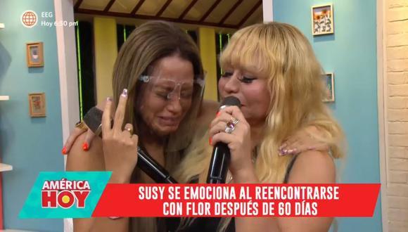 Susy Díaz se reencontró con su hija Flor después de 60 días de estar separadas por el COVID-19. (Foto: Captura de video)