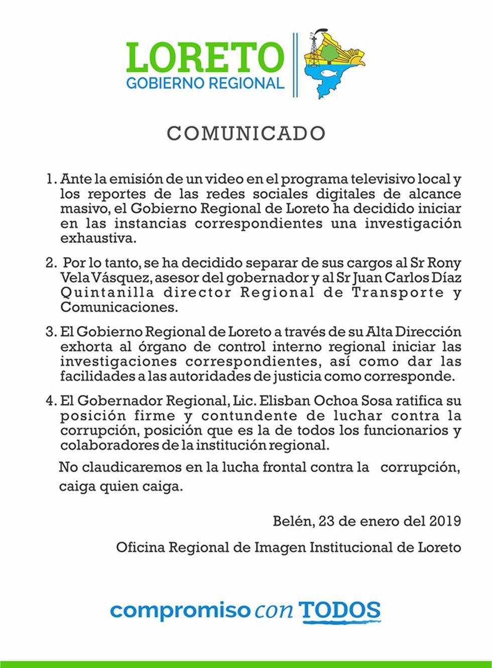 Loreto: separan del cargo a funcionarios involucrados en presuntos actos de corrupción
