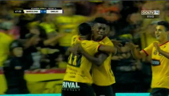 Felix Torres Caicedo anotó el 1-0 y explotó el Monumental de Guayaquil | Foto: captura