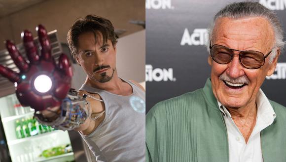 """A la izquierda, Robert Downey Jr. en """"Iron Man"""" (2008), película que le cambió la vida. La historia se basó en el personaje creado en 1963 por Stan Lee (der.). Foto: Marvel Studios/ Agencias."""
