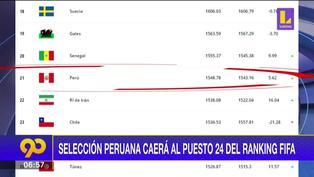 La selección peruana desciende tres puestos en el ranking de la FIFA