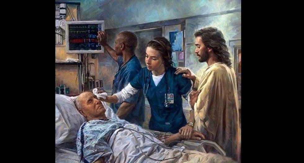 ¨El que cura¨, pintura del norteamericano Nathan Grenne aludiendo a que el que asiste al enfermo nunca lo hace solo.  (Imagen:  Nathan Grenne)