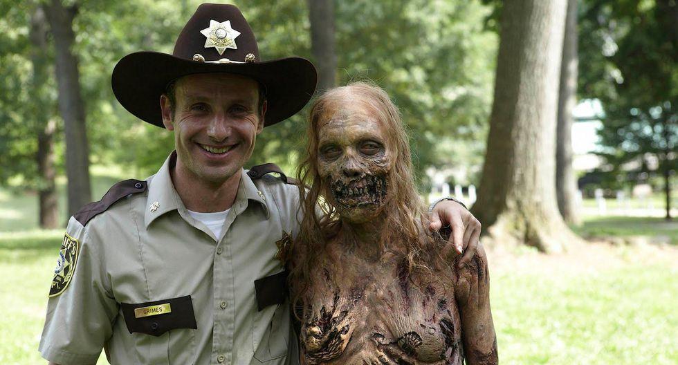 """Andrew Lincoln, protagonista de """"The Walking Dead"""", durante la filmación del primer episodio. Foto: AMC."""