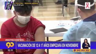 Coronavirus en Perú: Vacunación de 12 a 17 años iniciará el 17 de noviembre