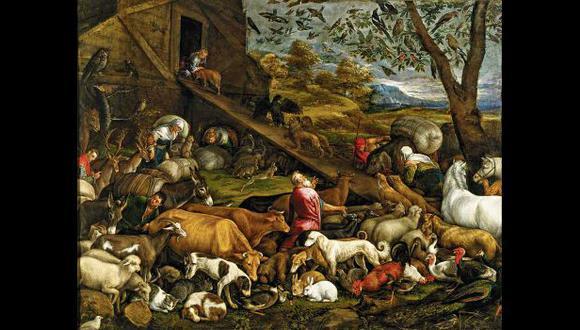 """Pintura de Jacopo Bassano, c. 1570, titulada """"Entrada de los animales en el arca de Noé"""", que recrea el momento previo al diluvio universal."""