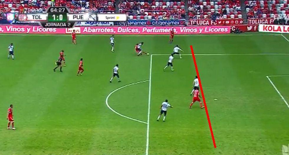 Enrique Triverio había marcando el 2-0 para Toluca sobre Puebla; sin embargo, el árbitro del partido cobró fuera juego. (Foto: Captura).