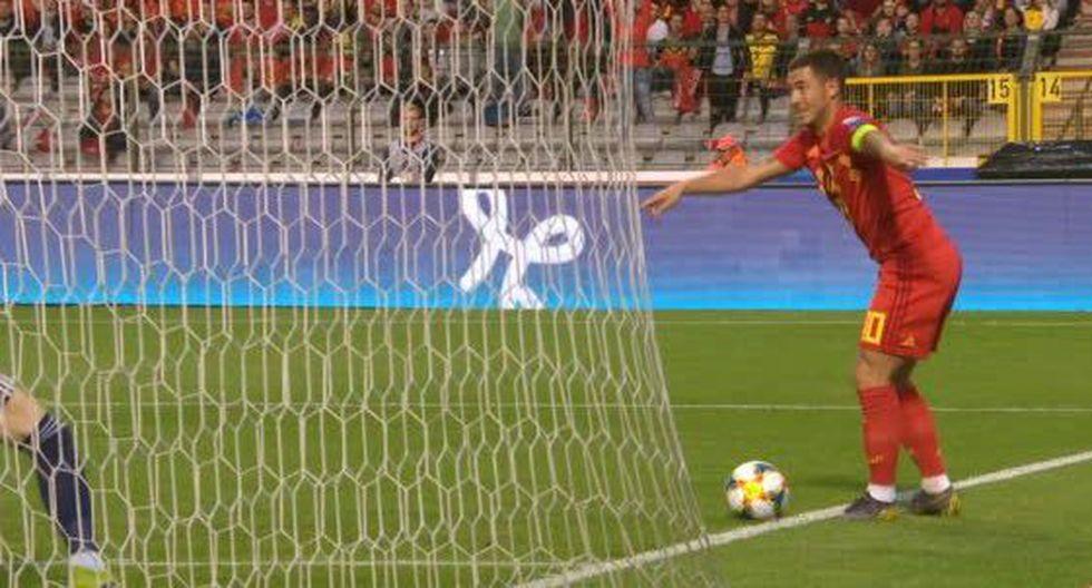 La asistencia de Eden Hazard en el Bélgica vs. Escocia. (Foto: captura de video)