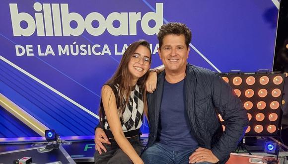 Carlos Vives junto a su hija Lucy en los Billboard Latin Music Awards. (Foto: @carlosvives).