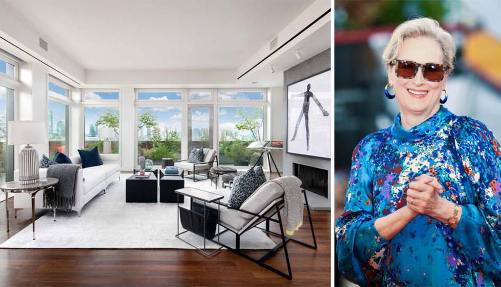Meryl Streep está vendiendo su lujoso penthouse en Nueva York. El salón se completa con una chimenea de leña y ventanas de piso a techo. (Foto: Realtor)