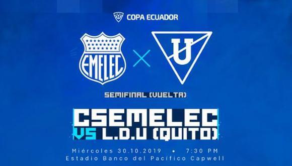 LDU venció 2-0 a Emelec en el duelo de ida de la decisiva eliminatoria. (Foto: Emelec)