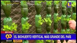 Surco: conoce el biohuerto vertical más grande del Perú hecho con botellas recicladas