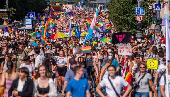 Imagen de las protestas a favor de la comunidad LGTB en Budapest. EFE