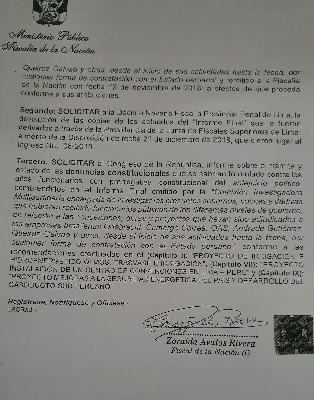 Disposición de la Fiscalía de la Nación del 18 de febrero 2019.