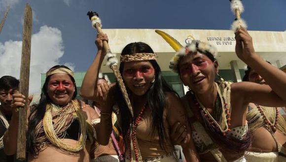 Los waorani festejaron la decisión que confirma su derecho a ser debidamente consultados sobre el uso de sus tierras. Foto: Getty images, vía BBC Mundo