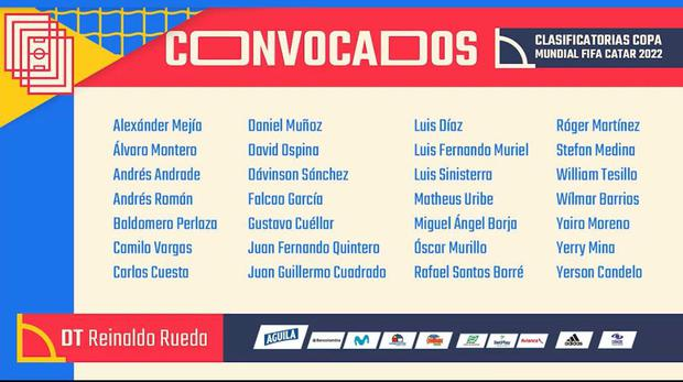 This is a list of teams for the Colombian national team qualifiers