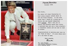 La carta que le escribió Sinatra a Luis Miguel cuando este recibió una estrella en el Paseo de la Fama de Hollywood