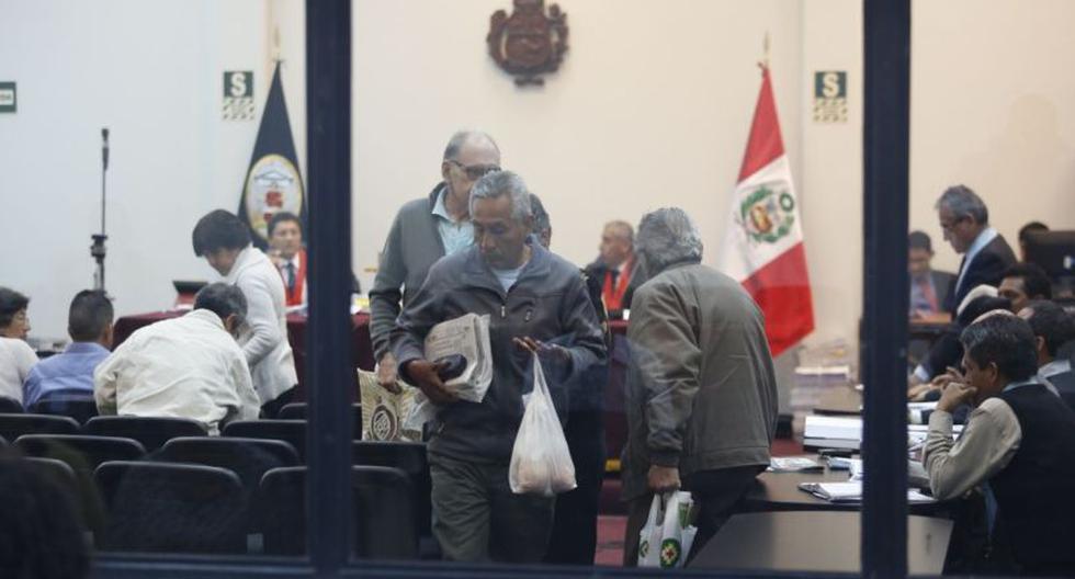 Abimael Guzmán y la cúpula de Sendero Luminoso fueron expulsados de la audiencia realizada en la Base Naval del Callao por el Caso Tarata.  (Foto: Hugo Pérez / El Comercio)
