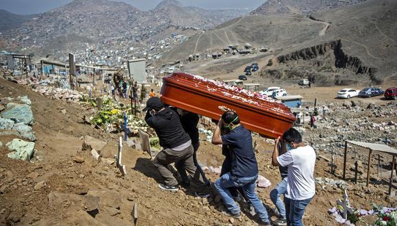 Familiares llevan el ataúd de una víctima de coronavirus COVID-19 en el cementerio de Nueva Esperanza, uno de los más grandes de América Latina, en las afueras del sur de Lima, Perú. (Foto de Ernesto BENAVIDES / AFP).
