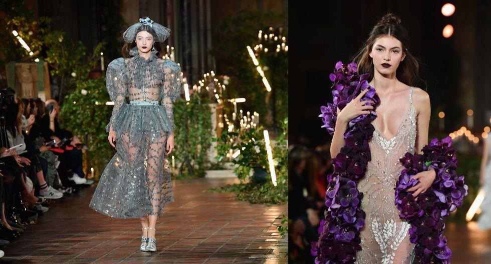 6. Naked dress: Rodarte ha dado la cuota glam y elegante en la Semana de la Moda de Nueva York. ¿Su propuesta? fusionar la sensualidad de los vestidos con transparencias al romanticismo de detalles como los volantes y flores 3D. (Fotos: AFP)