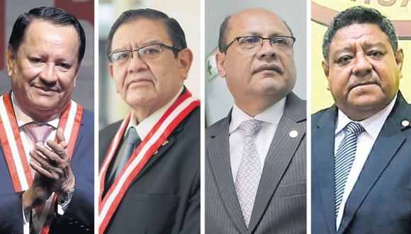Integran el pleno del JNE Luis Arce Córdova, Jorge Salas Arenas (presidente), Jorge Rodríguez Vélez y Jovián Sanjinez Salazar. (Imagen: GEC)