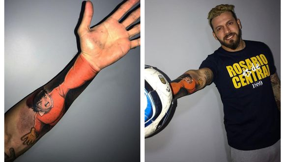 El portero Jorge Fatura Broun dejó impresionados a todos por su insólito tatuaje. (Foto: Twitter TyC Sports)