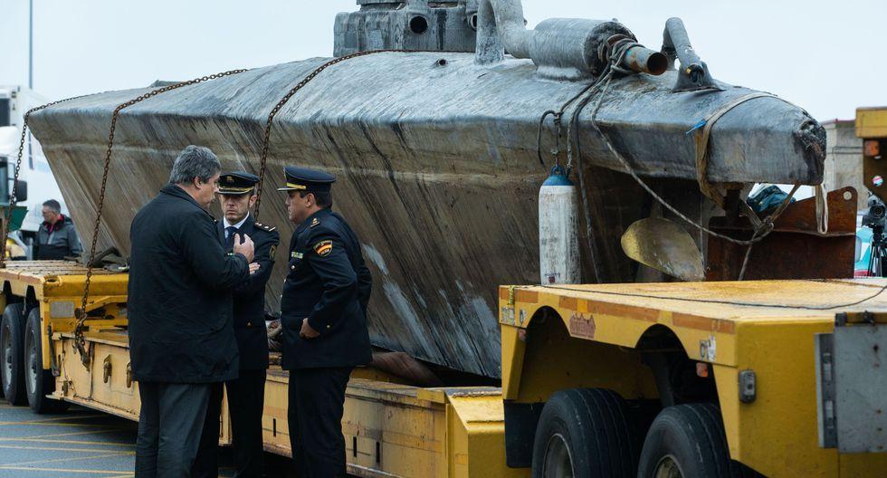 El narcosubmarino incautado por España mide unos 20 metros (65 pies) de largo. (AFP / Lalo R. VILLAR).