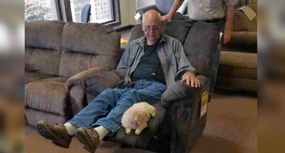 Un hombre llevó a su mascota a la tienda de muebles para asegurarse que le guste la nueva silla y se hizo viral. (Foto: Aleecia Dahl)